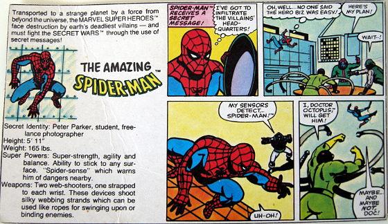 Secret Wars - Spider-Man - original backing card
