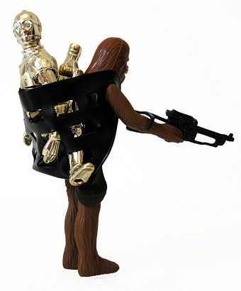 C3P0 carried by Chewbacca in black vinyl back pack!