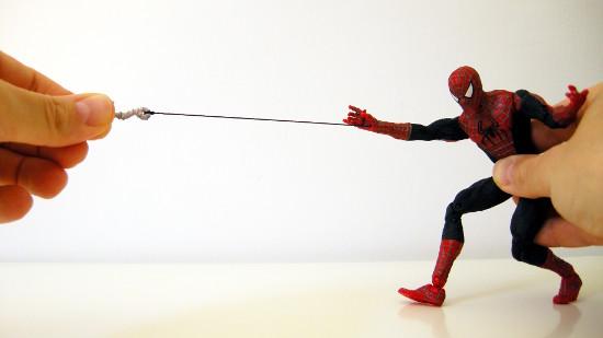 Web climbing Spider-Man's retractable web-line