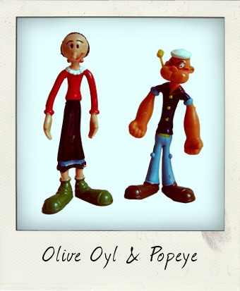 Vintage Popeye and Olive Oyl bendy figures
