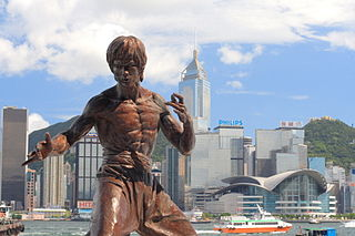 Statue of the movie star Bruce Lee on the Avenue of Stars of Hong Kong