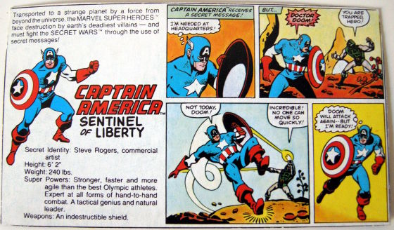 Secret Wars - Captain America - original backing card