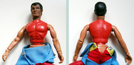 Superman head on a red torso Spider-man body