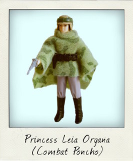 Princess Leia in combat poncho on Endor